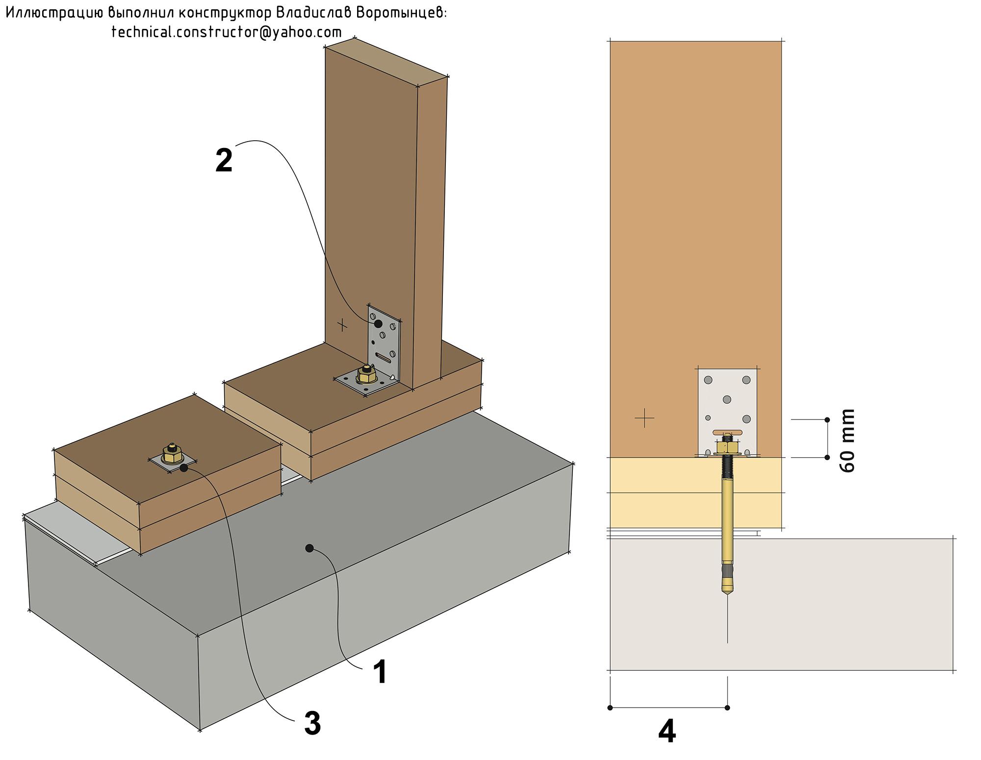 Рис. 9.33 Анкеровка деревянных каркасных стен к бетонной плите фундамента