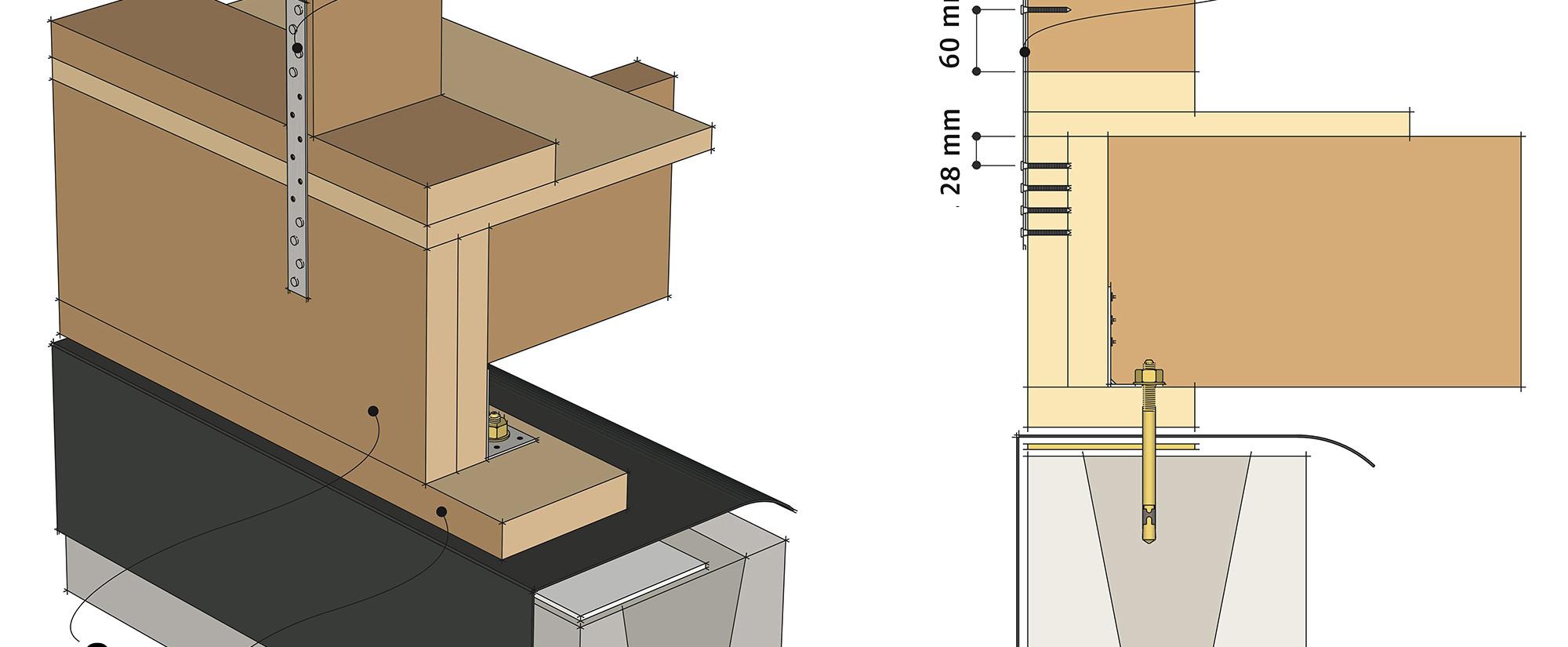 Рис. 9.34 Анкеровка деревянных каркасных стен к цокольному перекрытию с помощью стальных перфорированных лент