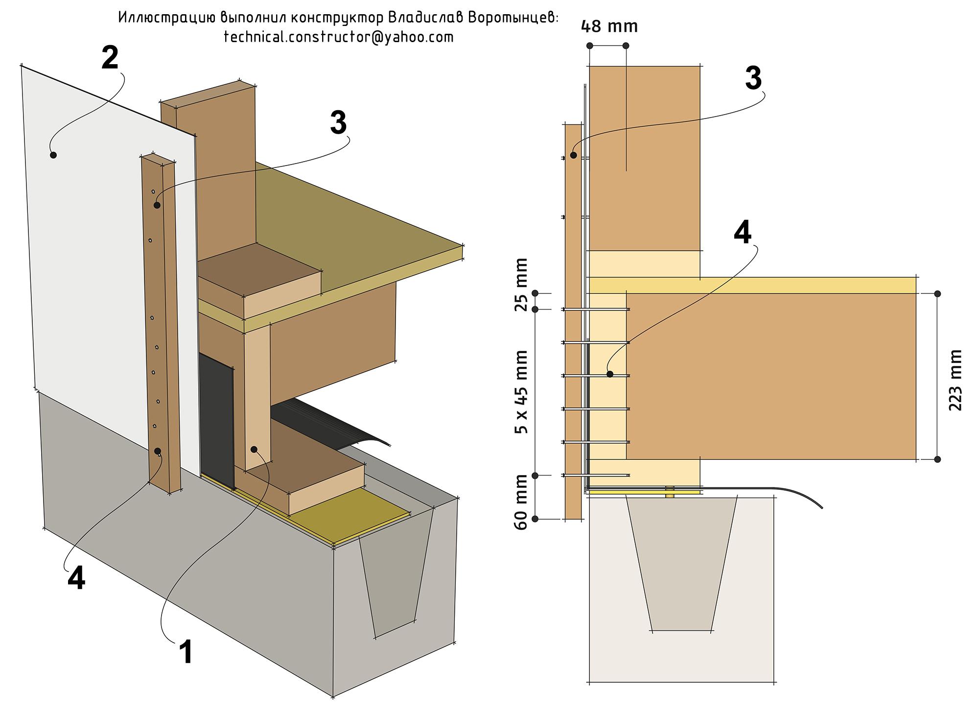 Рис. 9.35 Анкеровка деревянных каркасных стен к цокольному перекрытию с помощью деревянных реек