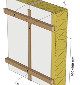 Монтаж самонесущей горизонтальной обрешётки под вертикальную обшивку