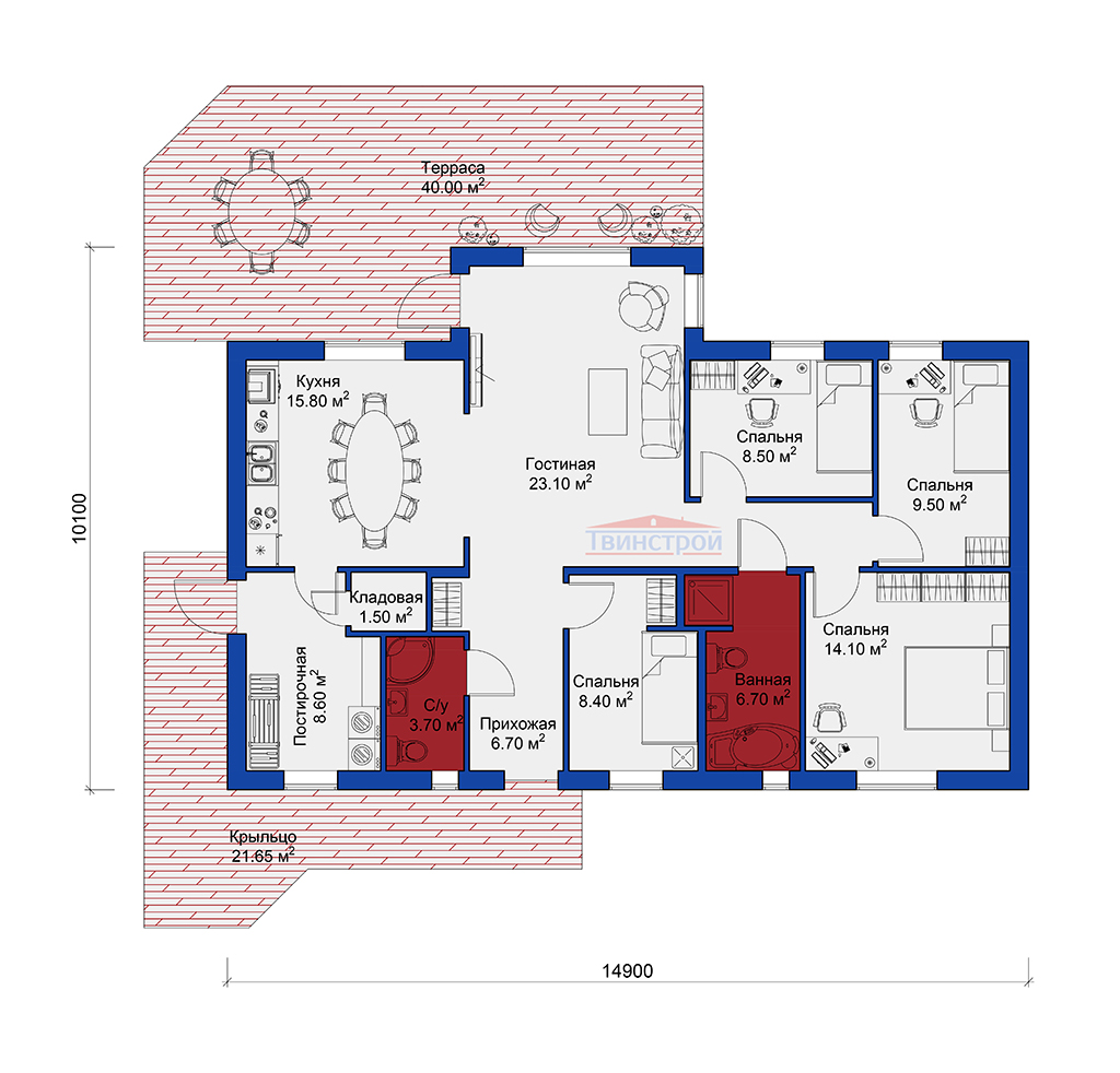 Планировка каркасного дома проекта Твинстрой А117