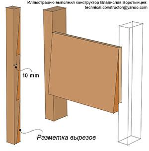 Рис. 9.61 Шаблон для разметки рейки с вырезами