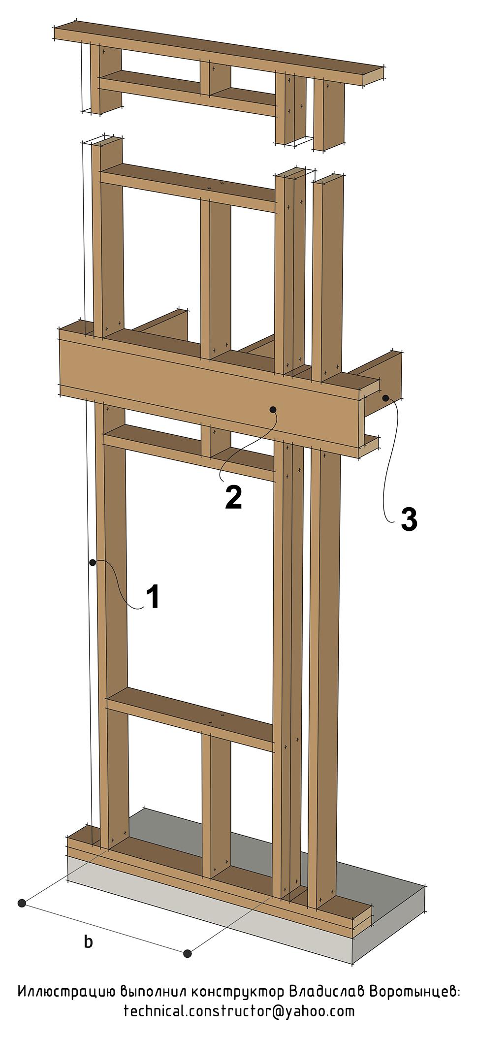 Рис. 9.24 Проём в несущей стене с нагрузкой только от междуэтажного перекрытия - (проём типа C по норвежской классификации)