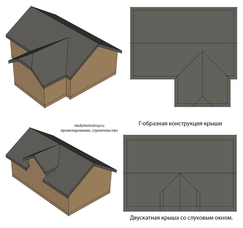Рис. 10.2 Крыши сложной формы с использованием накосных стропил