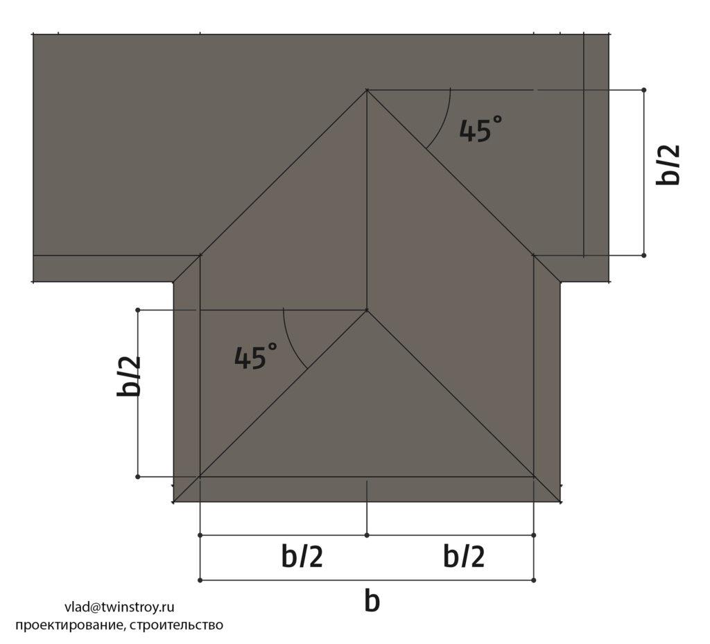 Рис. 10.38 Вальмовые хребты и ендовы крыши при пересечении скатов крыш с одинаковым уклоном