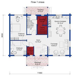 Твинстрой М138 планировка дома 1 этаж