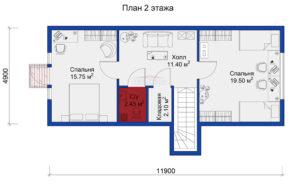 Твинстрой М138 планировка дома мансарда